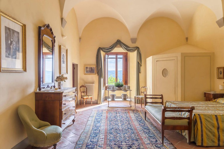 A luxurious bedroom in Florence's Castello di Volognano