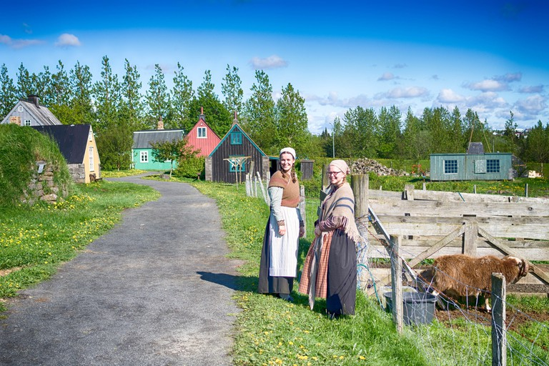 The staff at Árbær Open Air Museum are dressed in traditional Icelandic clothing