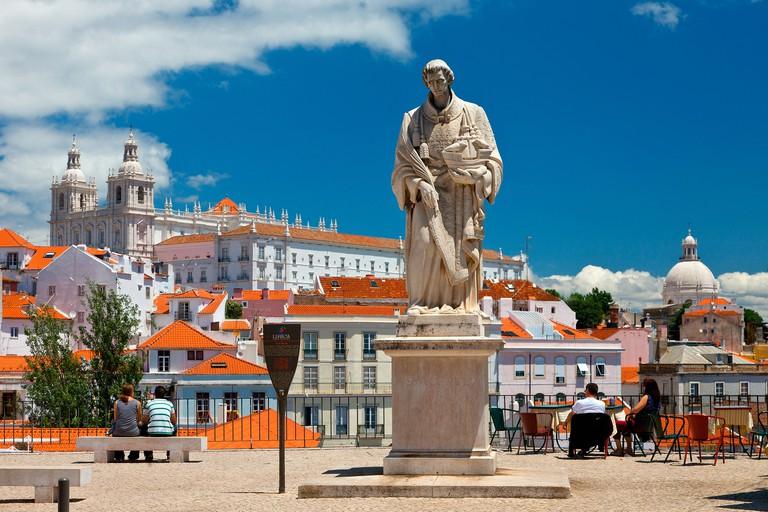 Europe, Portugal, Lisbon, Statue of San Vincente in Miradouro de Santa Luzia. Image shot 04/2019. Exact date unknown.