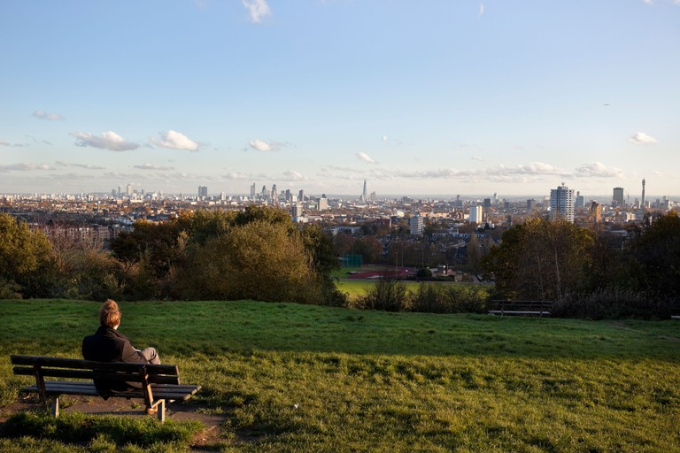 View of the city of London from Parliament Hill, Hampstead Heath.