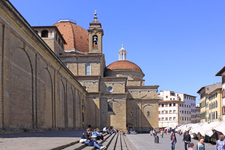 The Cappelle Medicee feature prominent tomb sculptures by Michelangelo