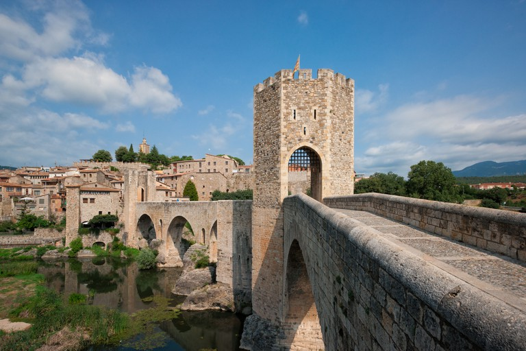 Medieval bridge at the entrance of the town of Besalu.