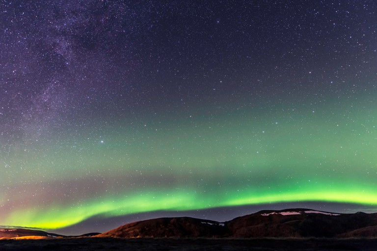 Northern lights (Aurora Borealis) Iceland.