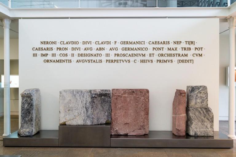 Dedication inscription, Roman theatre excavation and museum, Museu do teatro Romano, Patio de Aljube, Lisbon Portugal