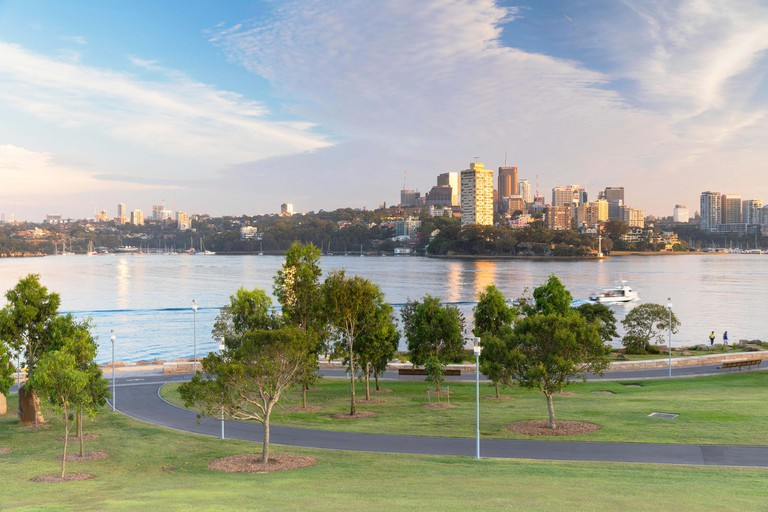 View across Sydney Harbour from Barangaroo Reserve, Sydney, New South Wales, Australia