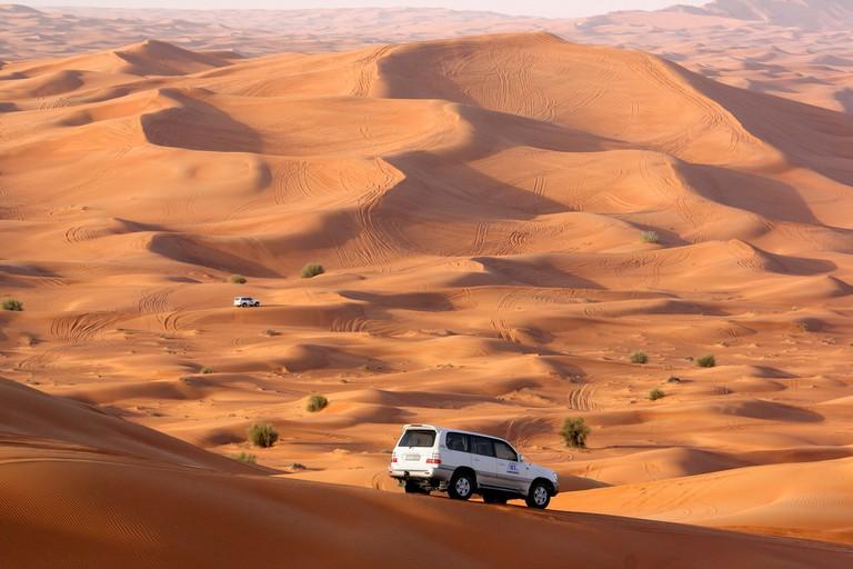 Dune bashing in the Dubai desert.