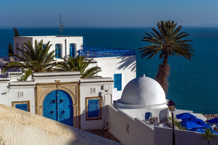 North Africa, Tunisia, Sidi Bou Said. Views of the Gulf of Tunis and the traditional white houses of the Medina.