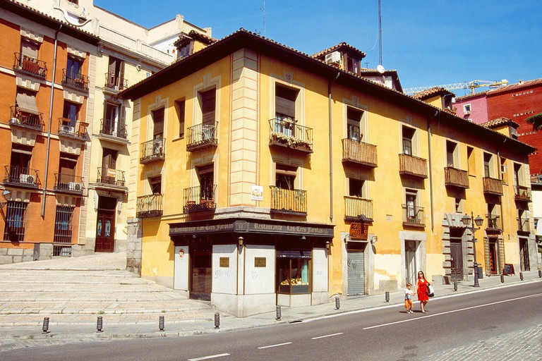 Facade of traditional house in Segovia street, Austrias district, Madrid, Spain.