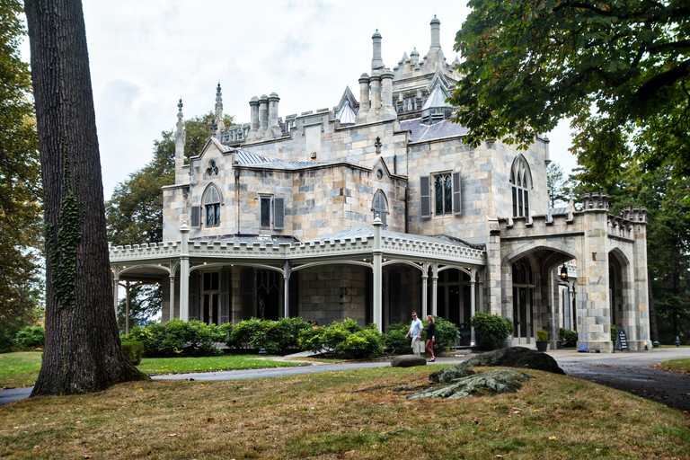 The gothic architecture of historic Lyndhurst Mansion, on the banks of the Hudson River, Tarrytown, New York