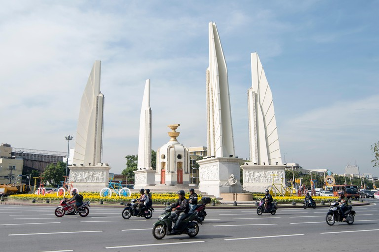 the Democracy Monument in Banglamphu in the city of Bangkok in Thailand in Southeastasia.  Thailand, Bangkok, November, 2018