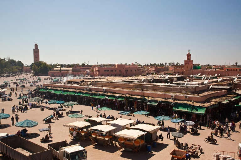 Looking towards Marakech's central square the Jemaa El Fna from the rooftop of the Cafe de France.