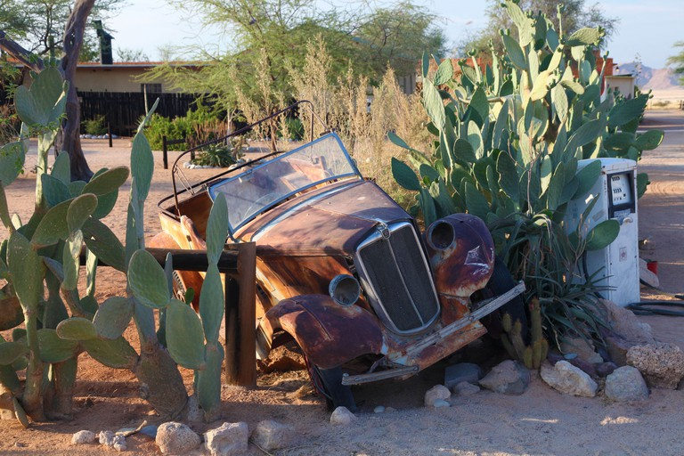 Car decoration at the Solitaire fuel and food stop - Southern Namibia.. Image shot 10/2009. Exact date unknown.