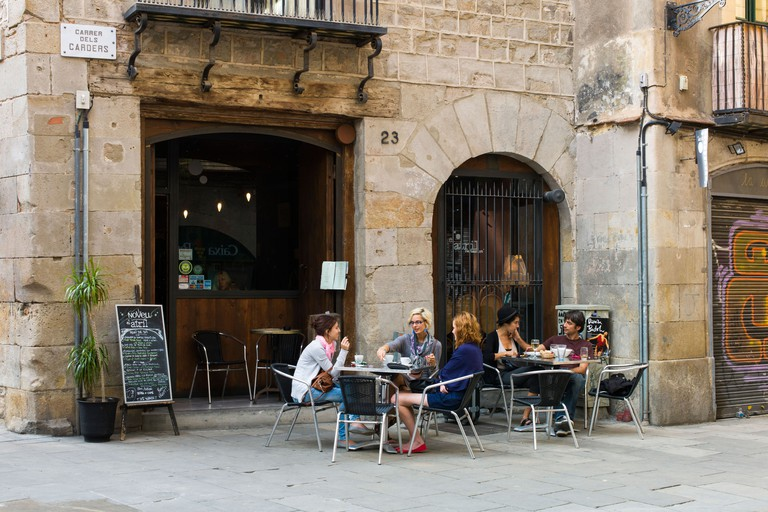 Cafe in the old town Barcelona Spain