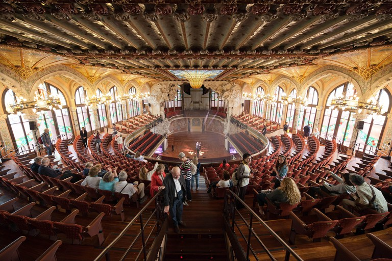 Palau de la Musica Catalana (Palace of Catalan Music) interior auditorium in Barcelona, Catalonia, Spain.
