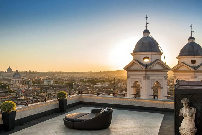 Take in the city from your private balcony at Hassler Roma
