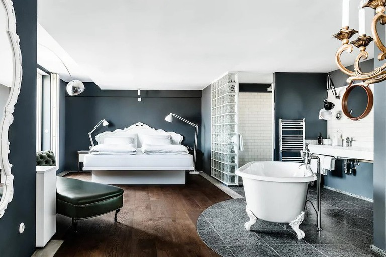 Cool contemporary room interiors with freestanding bath