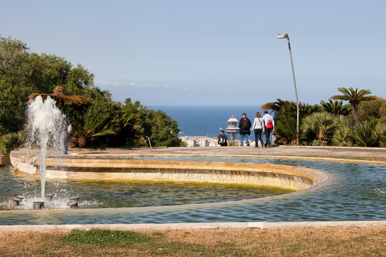 Fountain on Montjuic hill in Barcelona, Catalonia, Spain