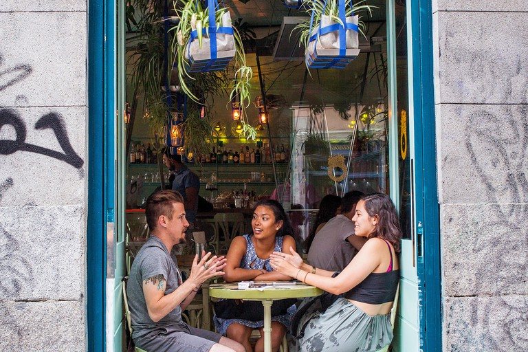 Restaurante Ojala, Calle de San Andres 1, in Malasana quarter. Madrid, Spain