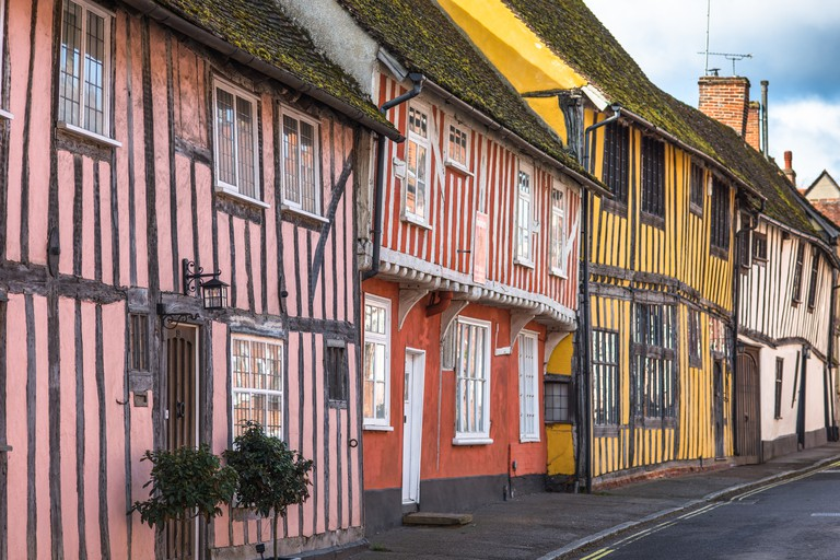 Half-timbered medieval cottages, Water Street, Lavenham, Suffolk, England, United Kingdom