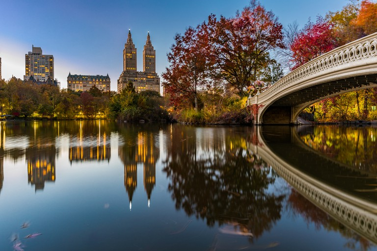 Bow Bridge Panorama at Central Park during Dusk
