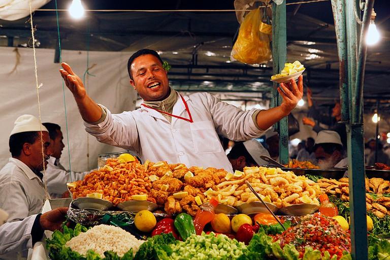 Morocco, Marrakech, Medina, Jemaa el-Fnaa, market place, at night