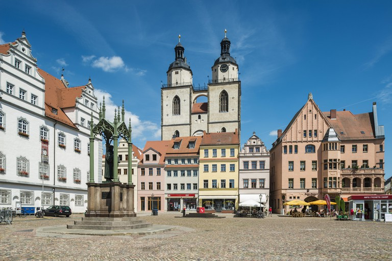 Market Square with Town Hall and Luther Monument, Luther city Wittenberg, Saxony-Anhalt, Germany.