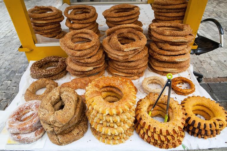 Koulouri sesame bread rings on a street stall