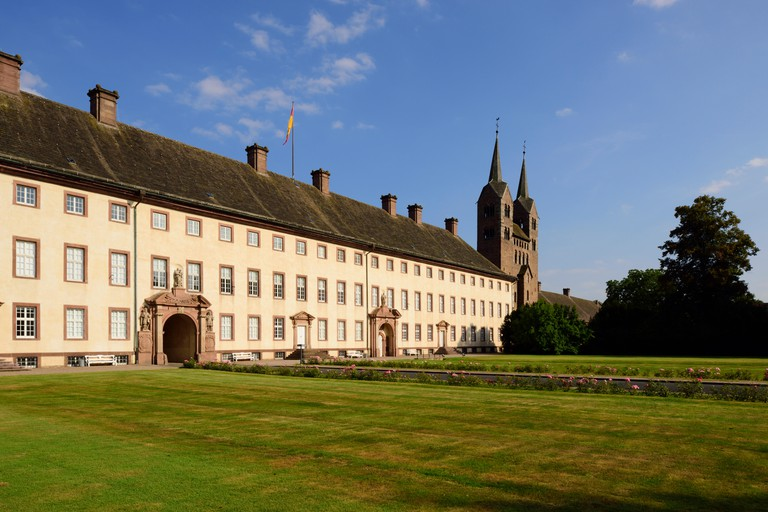 Corvey Abbey: West facade of the former monastery and westwork, near HoxterNorth Rhine-Westphalia, Germany