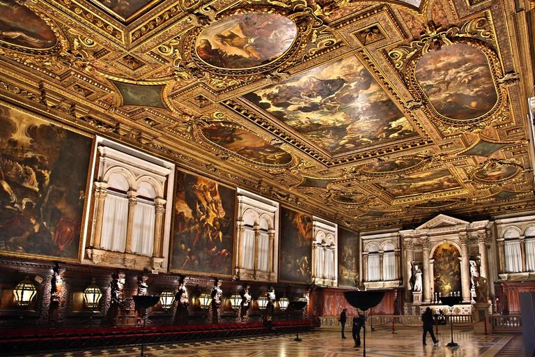 The Sala Grande Superiore in Scuola Grande di San Rocco, Sestiere di San Polo, Venice, Italy,