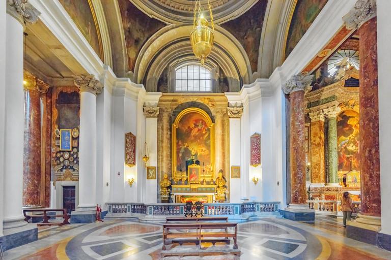 Inside the Church of St. Ignatius of Loyola at Campus Martius (Italian: Chiesa di Sant'Ignazio di Loyola in Campo Marzio. Italy.