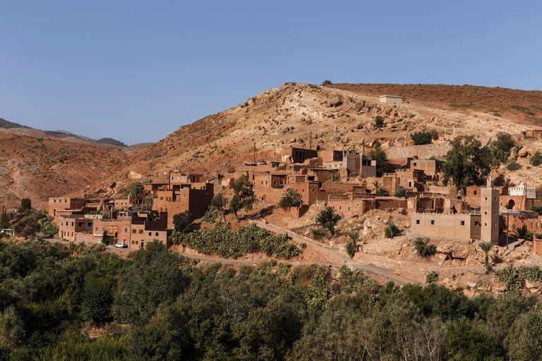 Walkers in the High Atlas mountains, Morocco.