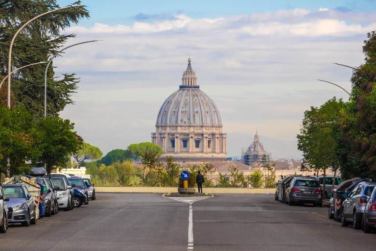 Rome (Italy) - The view of the Basilica St. Peter in the Vatican, from Via Piccolomini street and terrace