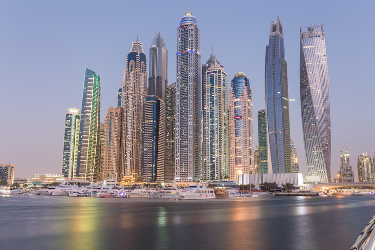 View to the futuristic skyline of skyscrapers in Dubai Marina, United Arab Emirates.