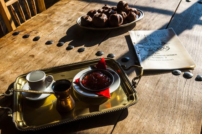 Coffee is served at Kafeneio Oraia Ellas, Athens