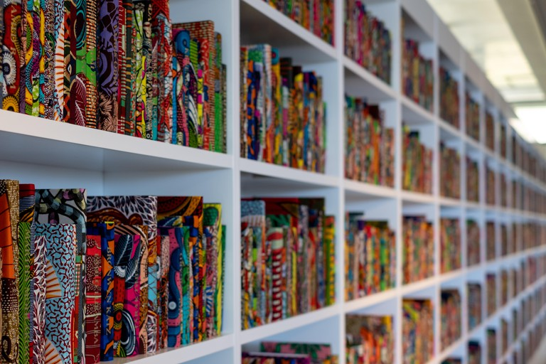 Installation entitled 'The African Library', part of the Trade Winds exhibition by Yinka Shonibare, at the Norval Foundation, Cape Town, South Africa.