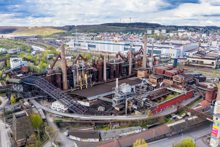 View over the Voelklingen Ironworks, UNESCO World Heritge Site, Saarland, Germany.