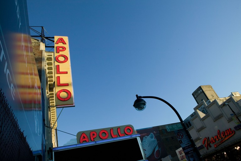 Renovated exterior facade of the Apollo theater on 125th street in Harlem New York City USA Dec 2005