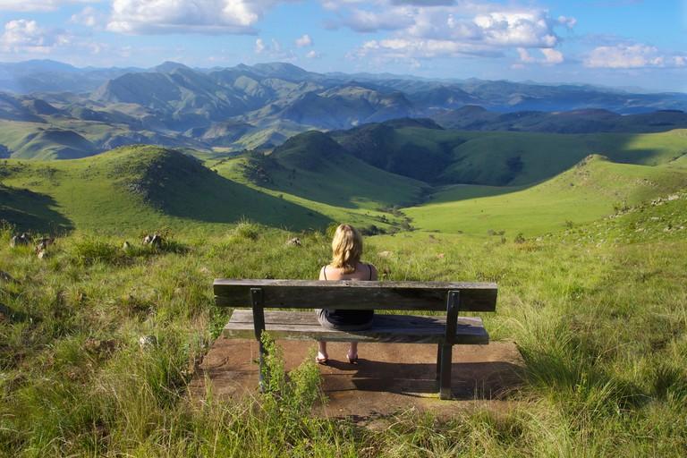 Woman looking at view, Malolotja Nature Reserve, Swaziland