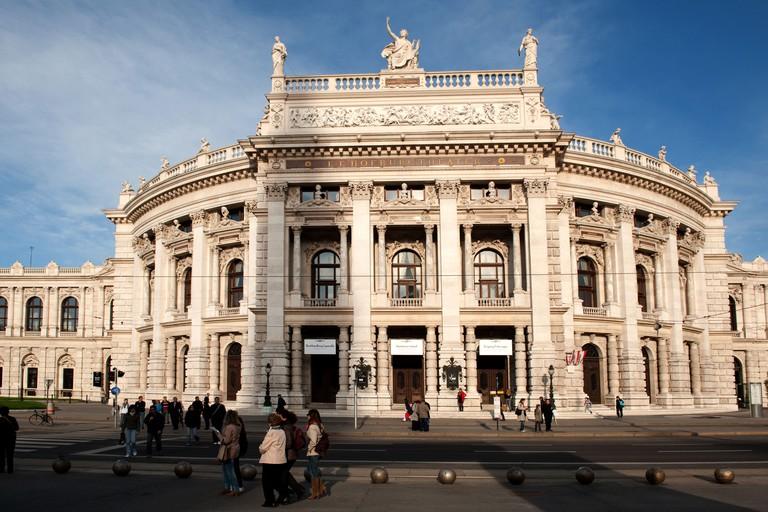 view from rathausplatz to hofburgtheater vienna austria 2010