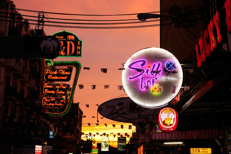 Khao San, Road, at night, Bangkok, Thailand, Asia, neon signs, lights,