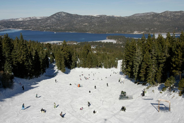 Skiing at Big Bear Lake, Nevada,