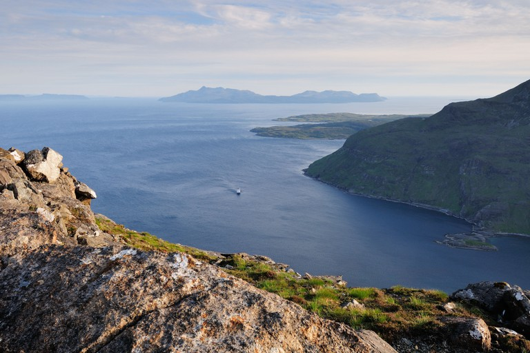 View over Loch Scavaig towards the Island of Rum from the summit of Sgurr na Stri on the Isle of Skye, Scotland