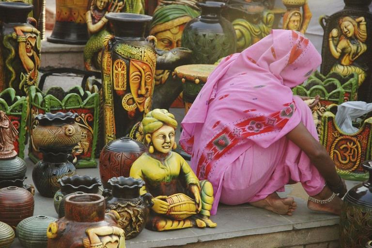 Delhi, India: handicrafts on sale at Dilli Haat market