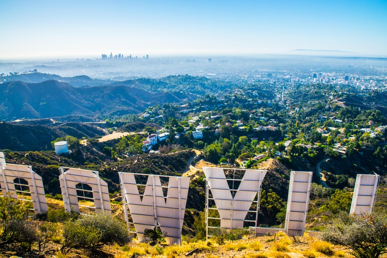 Hollywood sign. View from behind on a clear day.