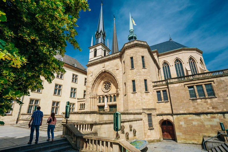 Notre Dame Cathedral, the Roman-Catholic Cathedral in Luxembourg. Built in the 17th century. Baroque. Grand Duchy of Luxembourg.