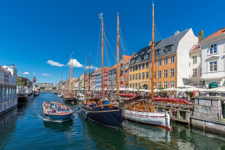 Excursion boat, Nyhavn canal, Copenhagen, Denmark