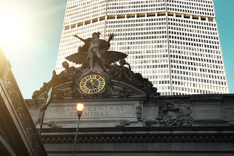 Mercury Statue Clock above the entrance of Grand Central Station in Midtown Manhattan, New York City