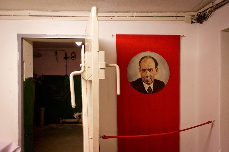 A portrait of Czechoslovakian President Antonin Zapotocky are displayed at a Cold War-Era nuclear shelter.