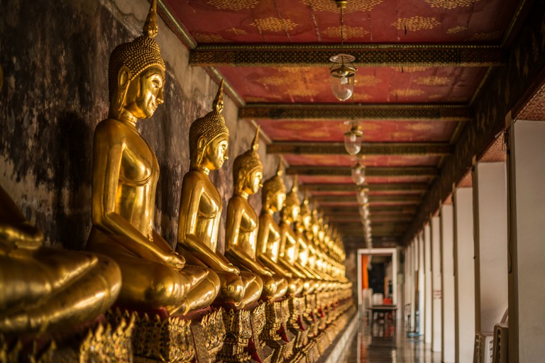 Golden Buddha Statues In Wat Suthat Temple