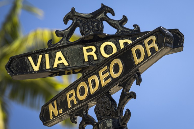 Rodeo Drive street sign in Beverly Hills California USA